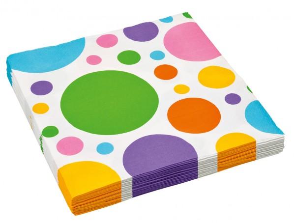 20 points colorés de serviette en papier Partytime