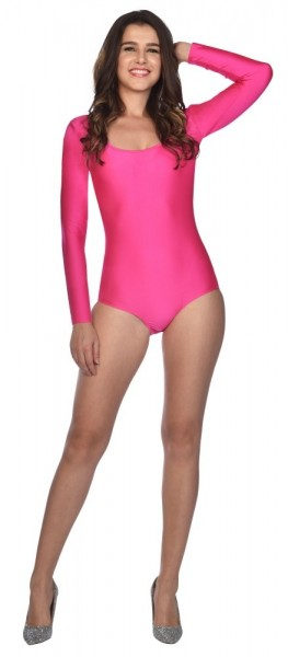 Pink Leotard Clarissa, Long sleeves