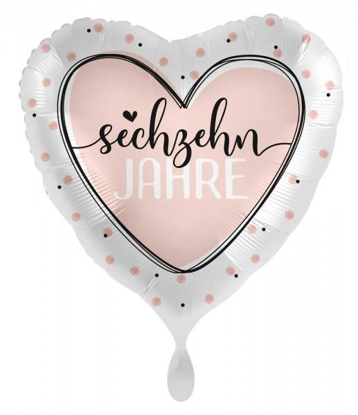 16. Geburtstag Ballon Shiny Heart 45cm