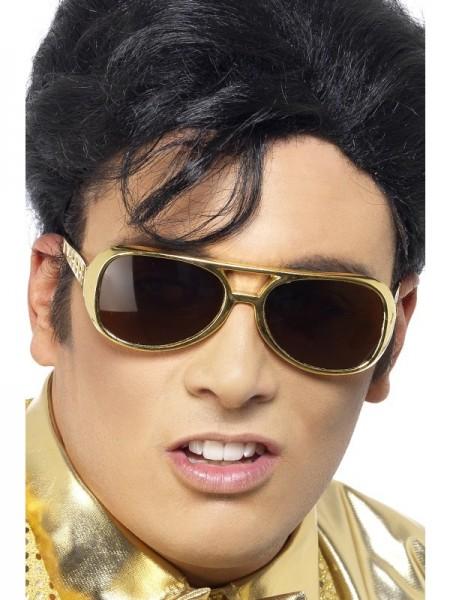 Goldfarbene Elvis Brille