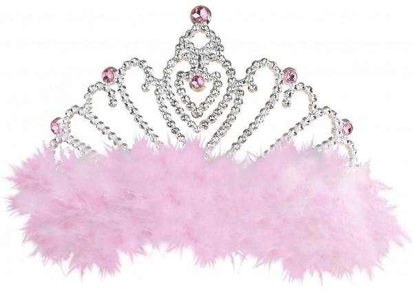 Diadema con plumas de rosas y diamantes