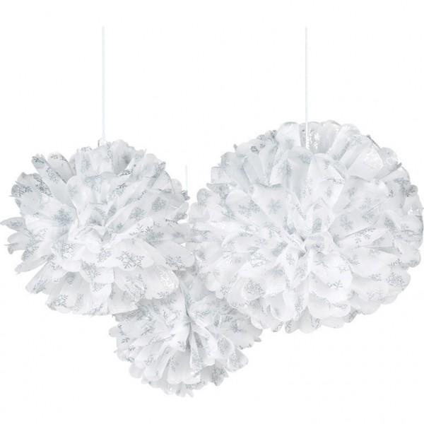 3 pompons flocons de neige moelleux
