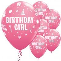 6 Rosa Ballons Birthday Girl 28cm