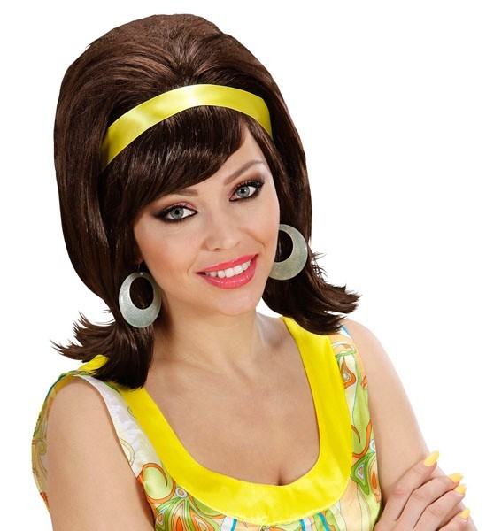 Brown 60s ladies wig Stella with hair band