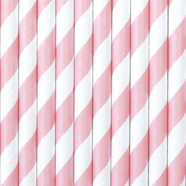 10 striped paper straws pink 19.5cm