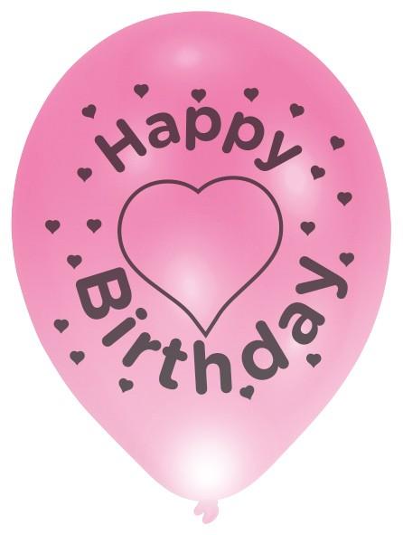4 palloncini a LED Happy Birthday con cuori