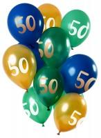 50.Geburtstag 12 Latexballons Grün Gold