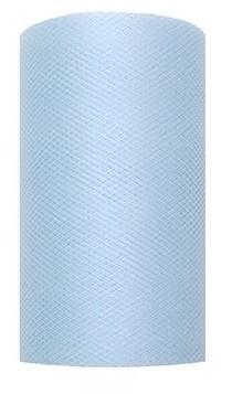 Tiulowa tkanina Luna pastelowa niebieska 20m x 8cm