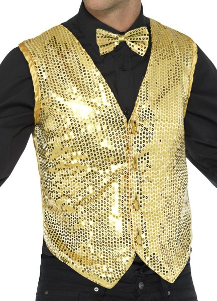 Gilet paillettes party glamour or