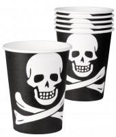 6 Piratenparty Totenkopf Pappbecher 250ml