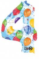 Zahlenballon 4 kunterbunt 88cm