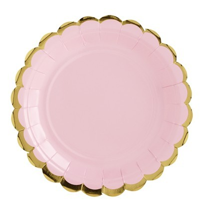 6 candy party paper plates light pink 18cm