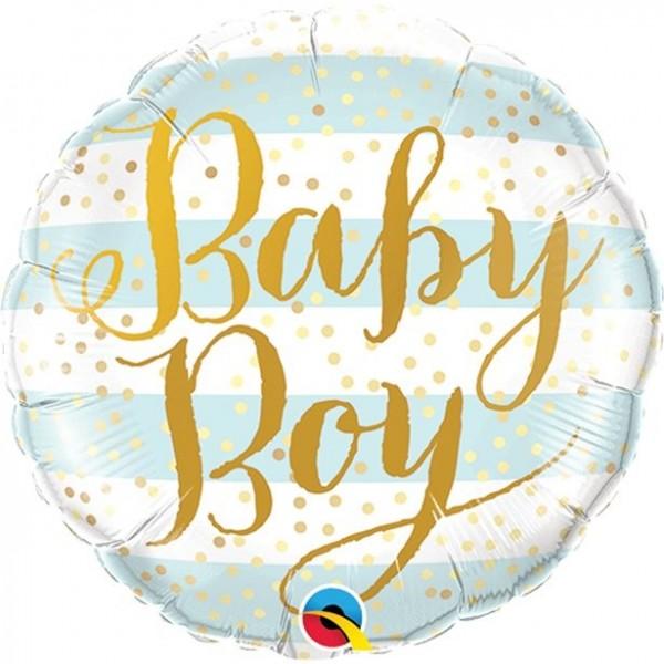 Ballon aluminium bébé garçon rayé 46cm