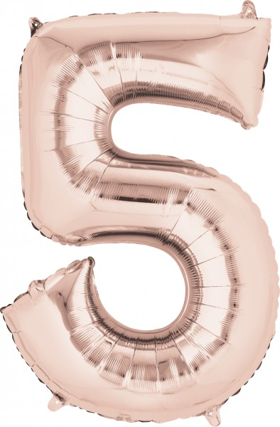 Number balloon 5 rose gold 86cm
