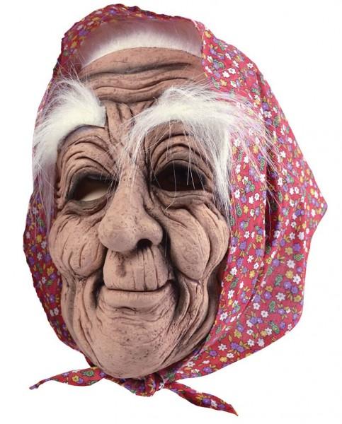 Gammel bedstemor maske med hovedtørklæde