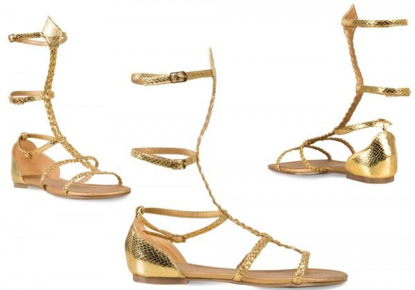 Gouden Romeinse sandalen voor dames