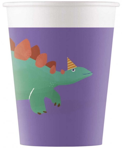 8 gobelets anniversaire Dino compostables 200ml