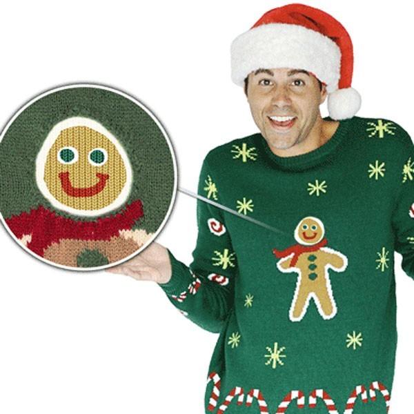 Suéter navideño de hombre de jengibre con efectos especiales para hombre