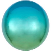 Ombré Folienballon blau-grün 40cm