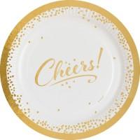 8 platos de papel Golden Wishes 23cm