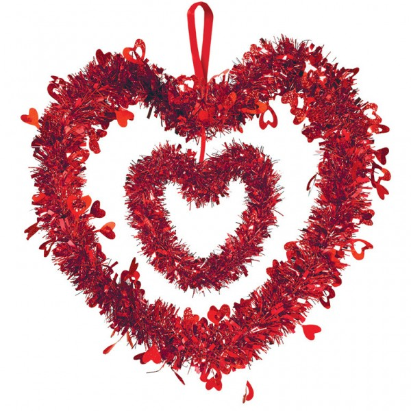 Tinsel decoration heart love me 30cm