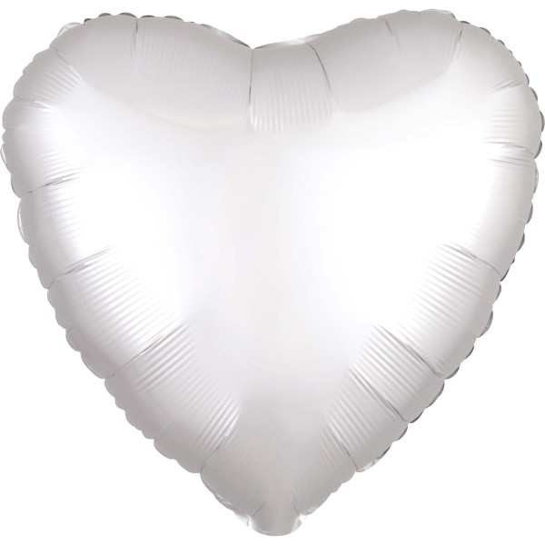Noble satin heart balloon white 43cm