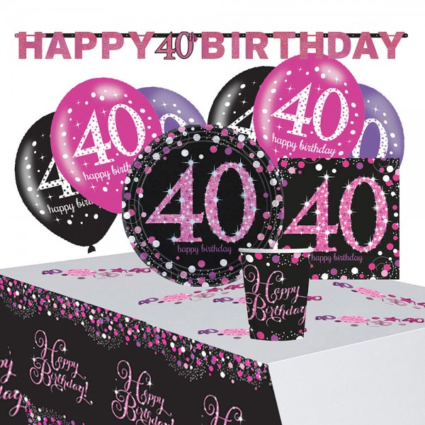 Pink 40th Birthday decoration set 41 pieces