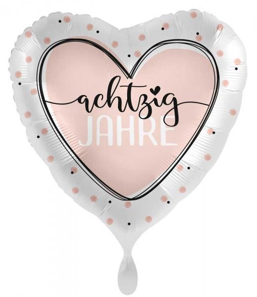 80. Geburtstag Ballon Shiny Heart 45cm