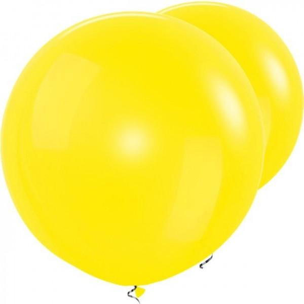 2 lemon yellow XL balloons 91cm
