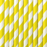 10 gestreifte Papier Strohhalme gelb 19,5cm