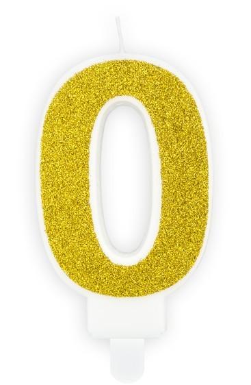 Candela luccicante in oro numero 0