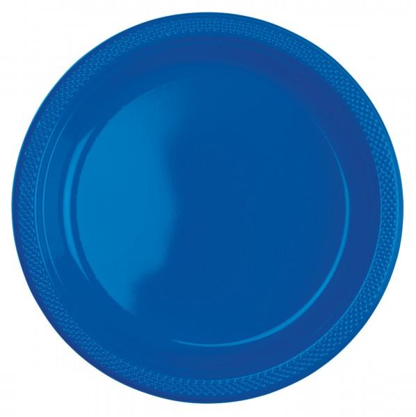 10 assiettes en plastique Amalia bleu roi 23cm