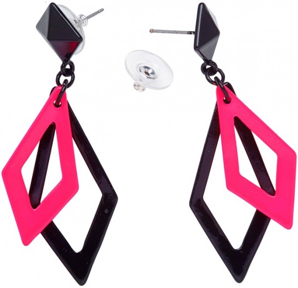 Pink-black neon diamond earrings