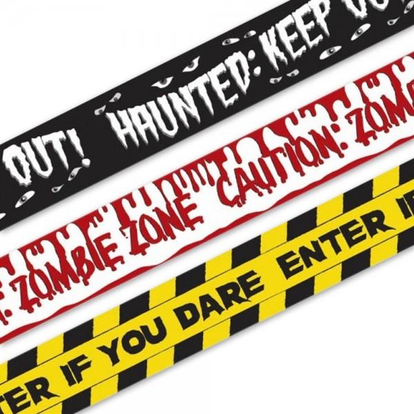 3 nastri adesivi Zombie Zone Halloween 9,10m