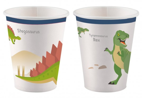 8 Happy Dinosaur Paper Cups 250ml