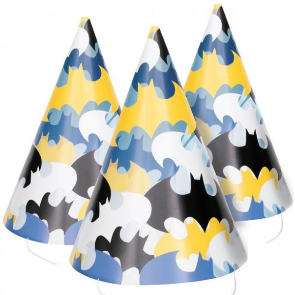 8 Batman Hero party hats 16cm