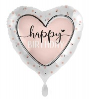 Herz Folienballon Birthday Creme 45cm