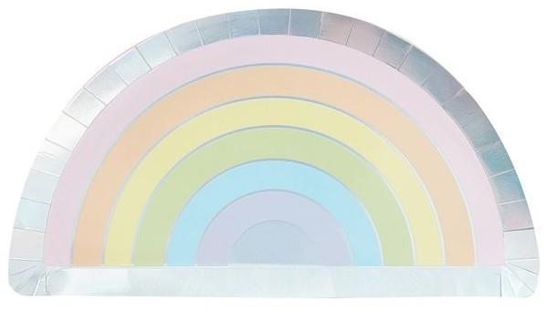 8 Pastell Regenbogen Pappteller 28cm