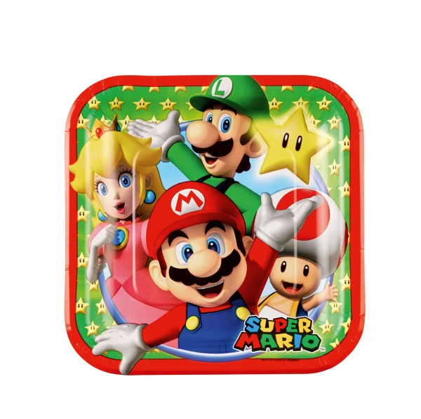 8 piatti di carta Super Mario Family 18cm