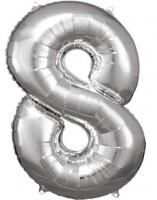 Silberner Zahl 8 Folienballon 86cm