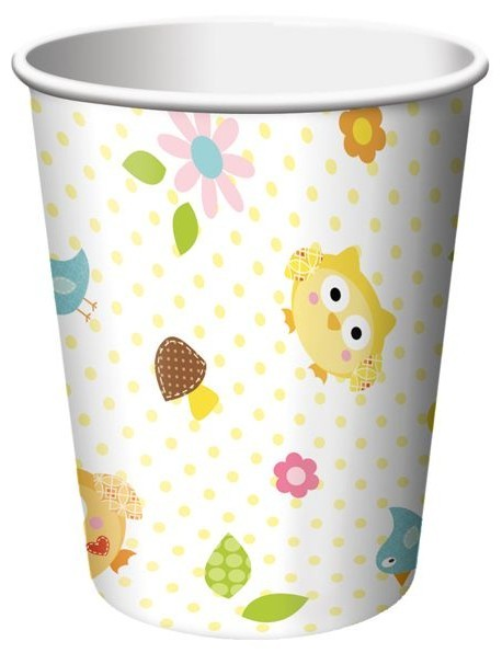 8 Woodland Babyparty Pappbecher 256ml