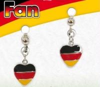 Deutschland Fan Herz Ohrclips