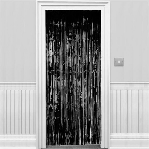 Czarna kurtyna drzwiowa lśniąca 2,4m