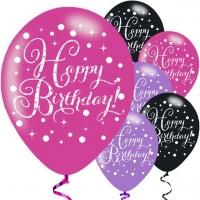 6 Pink Happy Birthday Luftballons 28cm