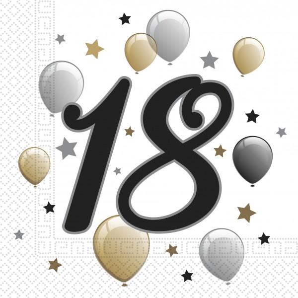 20 Goldene Milestone 18 Servietten
