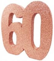 Roségoldene Zahl 60 Tischdeko 20cm