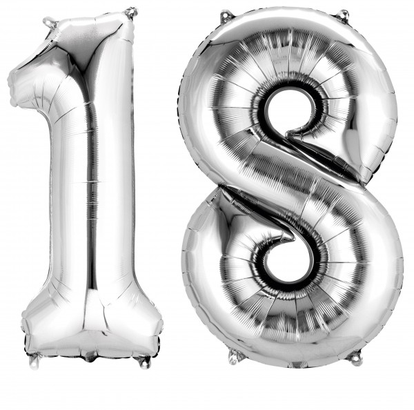 Foil balloon number 18 silver metallic 86 cm