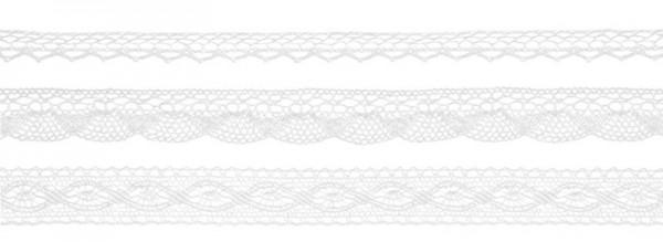 3 Spitzen-Geschenkbänder weiß 1,5m