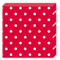 20 Mix Patterns Punkte Servietten rot 33cm