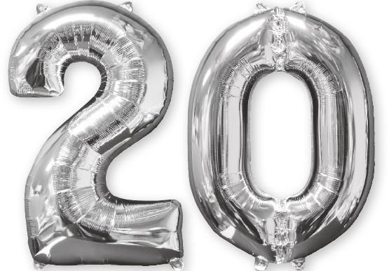 Ballon aluminium numéro 20 argent 66cm
